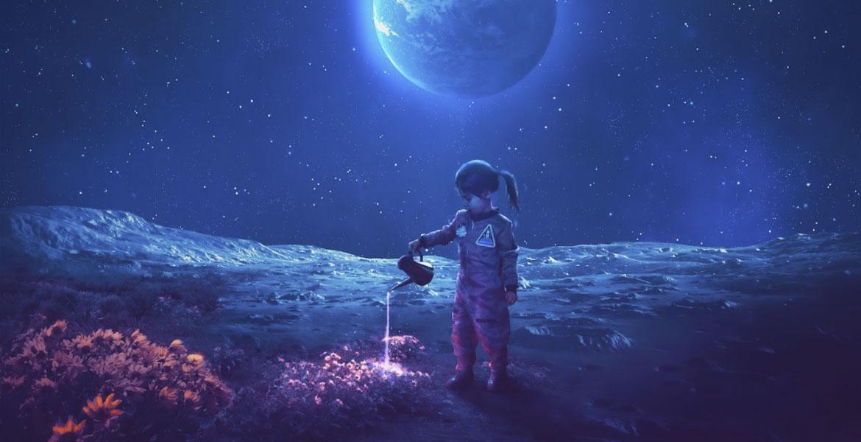 little girl in space