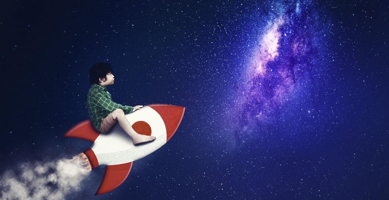 little boy in space